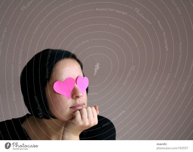 blind vor Liebe Frau Jugendliche feminin Gefühle Kopf Haare & Frisuren träumen Stimmung Erwachsene Zusammensein Herz rosa warten Mensch Romantik