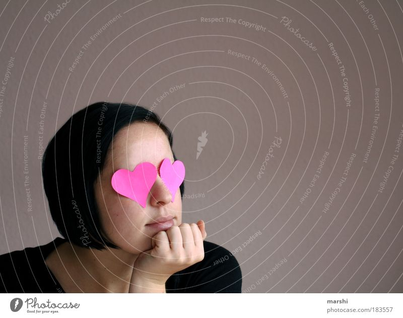 blind vor Liebe Frau Jugendliche Liebe feminin Gefühle Kopf Haare & Frisuren träumen Stimmung Erwachsene Zusammensein Herz rosa warten Mensch Romantik