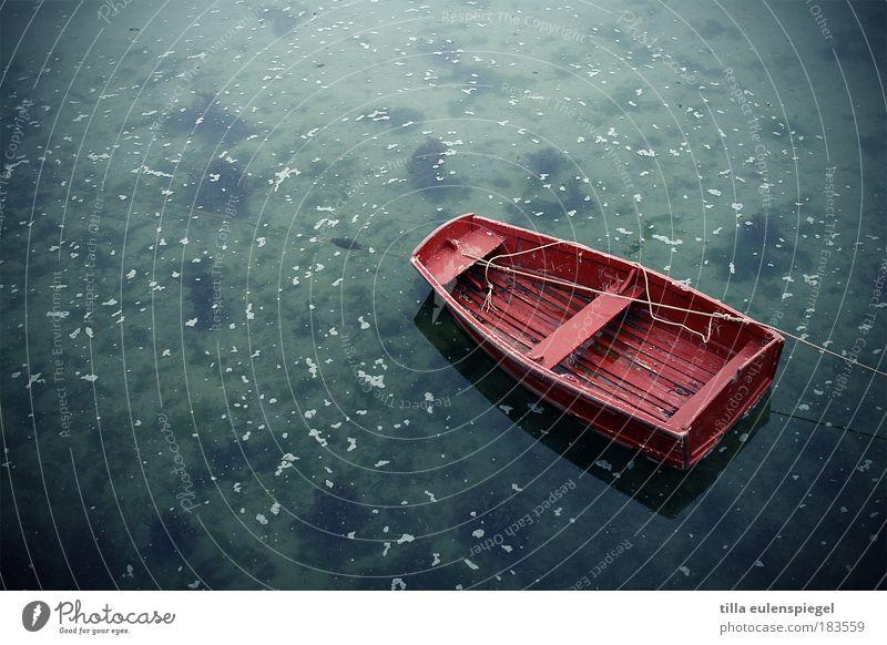 (k)ein knallrotes gummiboot Wasserfahrzeug Natur blau Ferien & Urlaub & Reisen Meer Farbe Einsamkeit ruhig Herbst Holz Küste Schwimmen & Baden Freizeit & Hobby