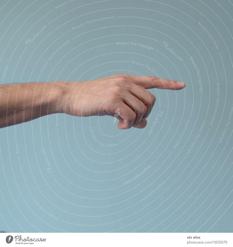 zeigen Arme Hand Finger Zeigefinger blau richtungweisend Farbfoto Innenaufnahme Menschenleer Textfreiraum links Textfreiraum rechts Textfreiraum oben