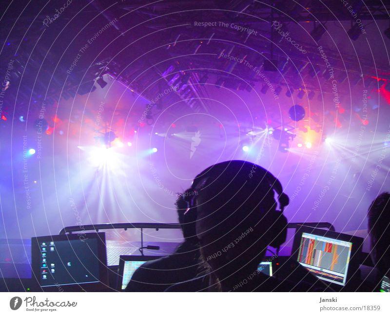 Hey DJ Disco Club Party Diskjockey Mensch Licht grell rot rosa Wochenende tanzen Feste & Feiern blau Technik & Technologie Bewegung Freude Silhouette