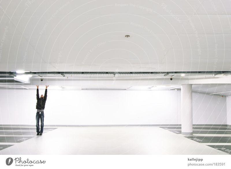 statiker Mensch Mann Erwachsene Architektur maskulin ästhetisch stehen festhalten berühren stark Held Schatten Säule Konstruktion Tradition Decke