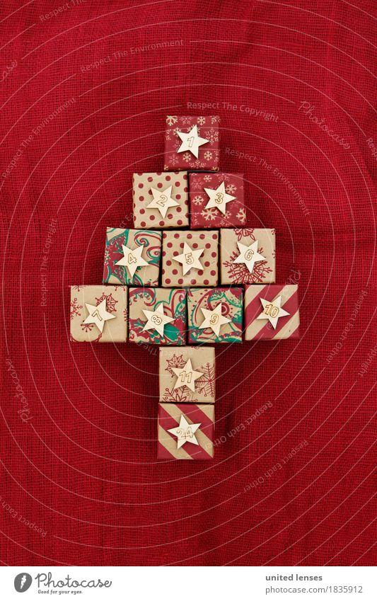 AKDR# Weihnachtskalender in Kurz I Weihnachten & Advent rot Kunst ästhetisch Kreativität Ziffern & Zahlen Postkarte Kalender Weihnachtsbaum Vorfreude Kunstwerk Symmetrie Paket Dezember