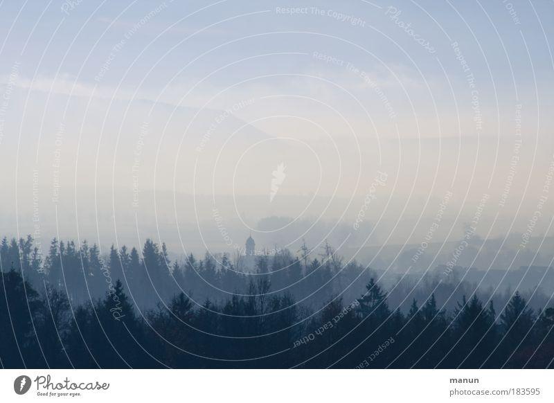 Nebeldecke Natur Ferien & Urlaub & Reisen blau Erholung Einsamkeit ruhig Landschaft Wolken Winter Ferne Wald kalt Umwelt Berge u. Gebirge Herbst Eis