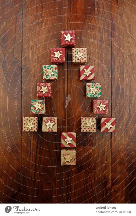 AKDR# Weihnachtskalender in Kurz II Basteln Kunst Werbung Reichtum Weihnachten & Advent Kalender Postkarte Geschenk Bescherung Vorfreude Holztisch Tanne