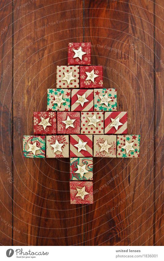 AKDR# Weihnachtskalender in Kurz III Weihnachten & Advent Kunst ästhetisch Kreativität Geschenk Ziffern & Zahlen Postkarte Weihnachtsbaum Vorfreude Tanne