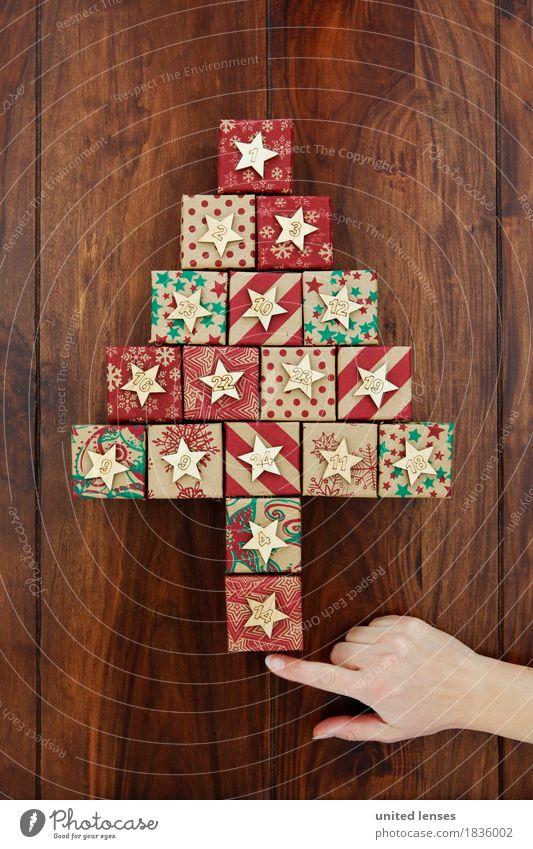 AKDR# Weihnachtskalender Schau! Weihnachten & Advent Kunst ästhetisch Geschenk Stern (Symbol) Ziffern & Zahlen viele Vorfreude Tanne Holztisch Kunstwerk 24