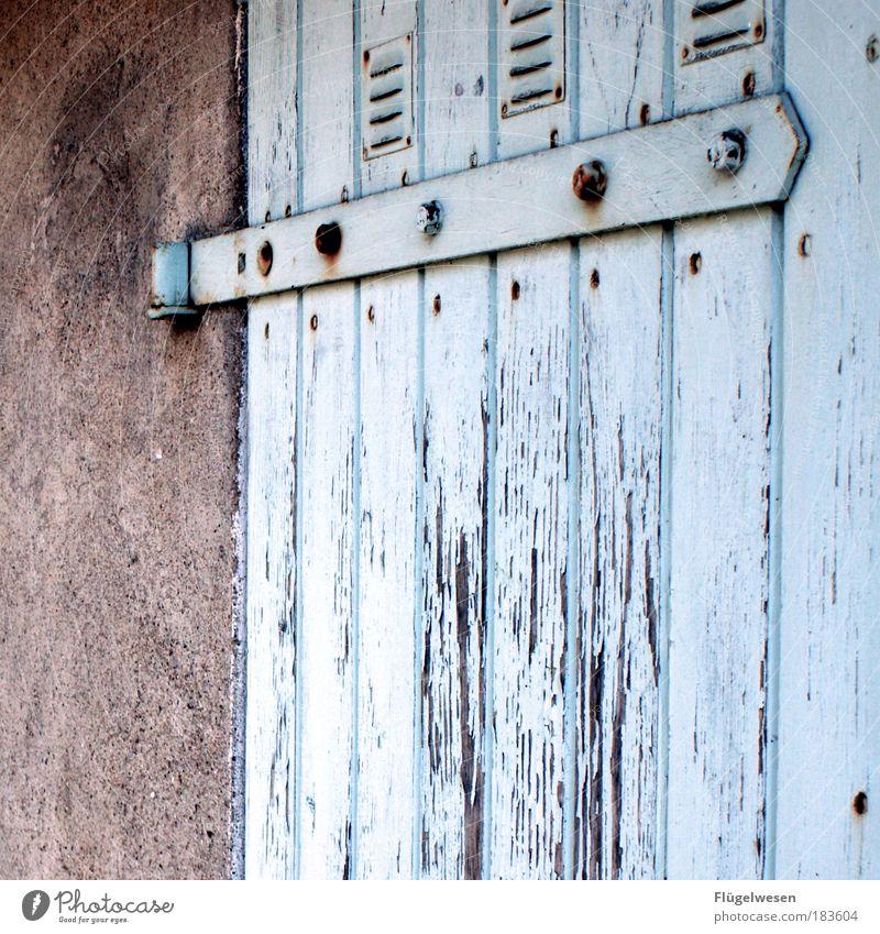 Torschlußpanik Wand Mauer warten Tür Horizont geschlossen Hoffnung trist offen einzigartig Backstein Holz Zaun Wachsamkeit