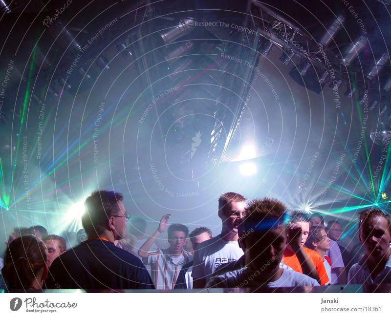 Dancing People II Disco Club Party Mensch Licht grell grün weiß Wochenende Tänzer tanzen Silhouette Feste & Feiern blau Bewegung Freude Menschenmenge Sonne