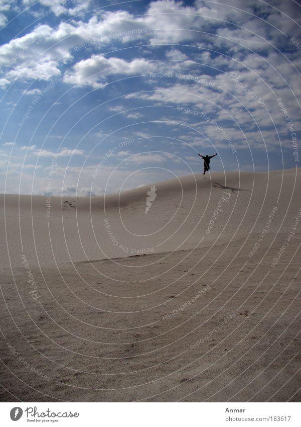 Fliegen? Farbfoto Außenaufnahme Textfreiraum links Textfreiraum oben Tag Silhouette Totale Ganzkörperaufnahme Freude Ferien & Urlaub & Reisen Freiheit Sommer