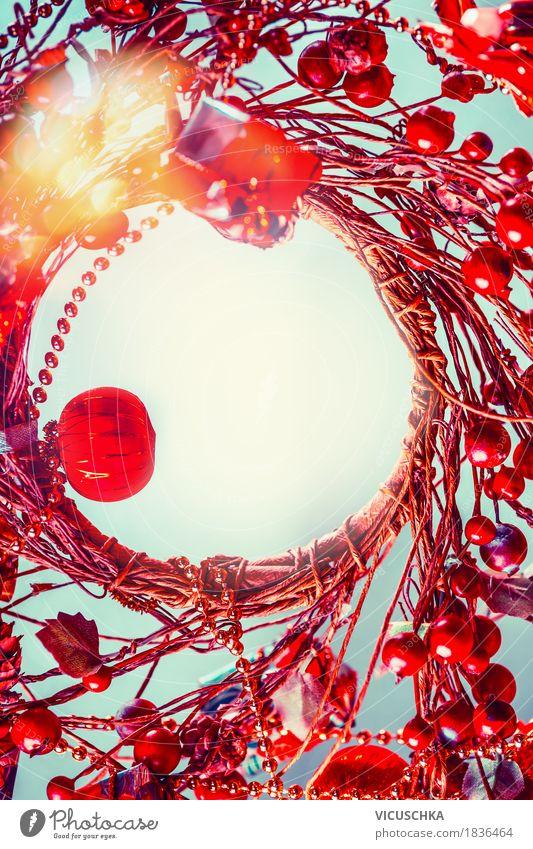 Weihnachten Hintergrund mit roten Kranz, Rahmen Lifestyle Stil Design Freude Winter Dekoration & Verzierung Feste & Feiern Weihnachten & Advent Ornament