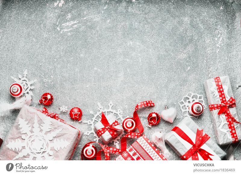 Weihnachten Hintergrund mit Geschenke Weihnachten & Advent weiß rot Freude Winter Innenarchitektur Liebe Hintergrundbild Stil Feste & Feiern Stimmung Design