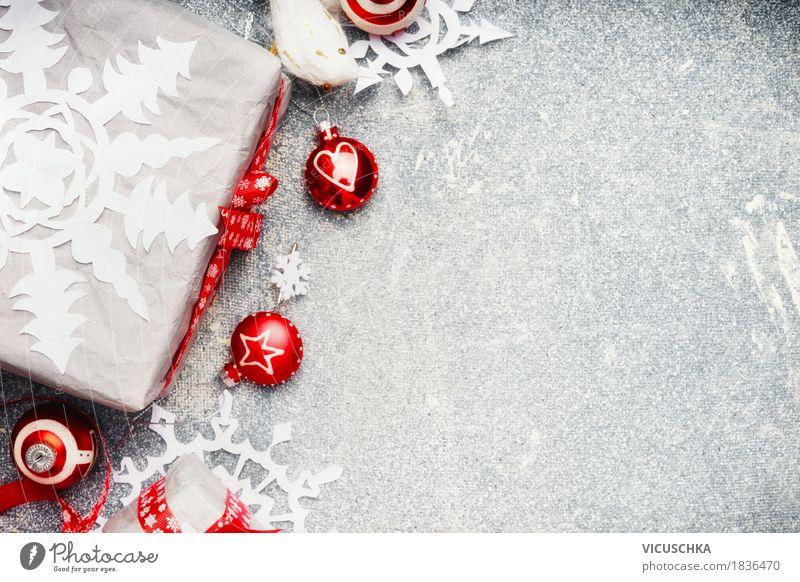 Weihnachten Hintergrund mit weiß roter Geschenkverpackung Weihnachten & Advent schön Freude Winter Leben Stil Glück Feste & Feiern Stimmung Design