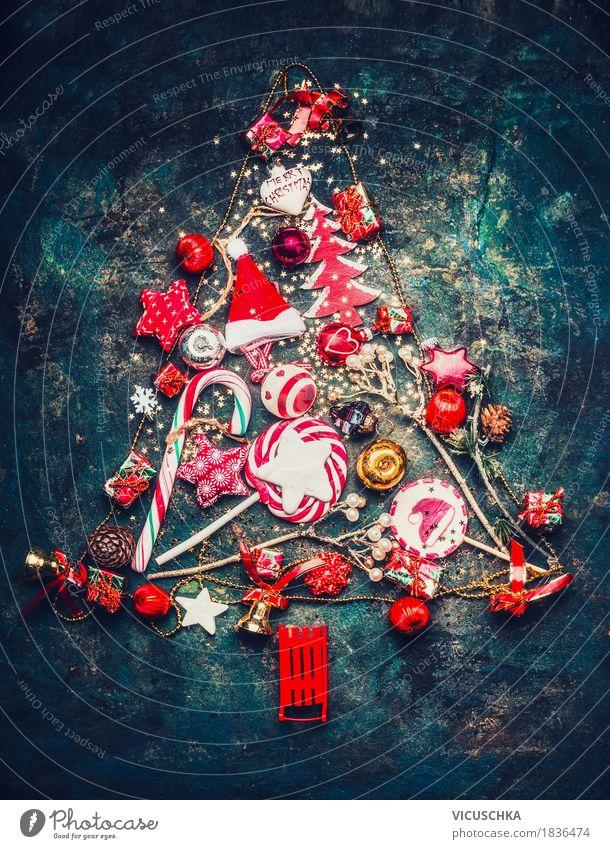 Weihnachtsbaum mit rote Dekoration Weihnachten & Advent Freude Winter gelb Stil Feste & Feiern Design rosa Dekoration & Verzierung Symbole & Metaphern Postkarte