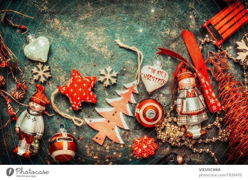 Weihnachten, Hintergrund mit roten Dekoration Stil Design Freude Häusliches Leben Dekoration & Verzierung Feste & Feiern Weihnachten & Advent retro Tradition