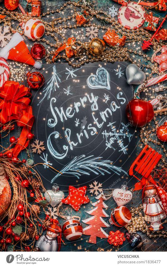 Merry Christmas, Weihnachtskarte mit Dekoration Stil Design Freude Winter Dekoration & Verzierung Feste & Feiern Weihnachten & Advent Zeichen Ornament Kugel