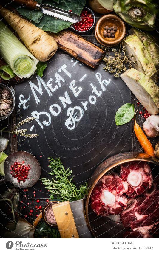 Zutaten für Fleischbrühe Gesunde Ernährung Leben Stil Lebensmittel Design Häusliches Leben Tisch Kräuter & Gewürze Küche Gemüse Bioprodukte Geschirr Abendessen