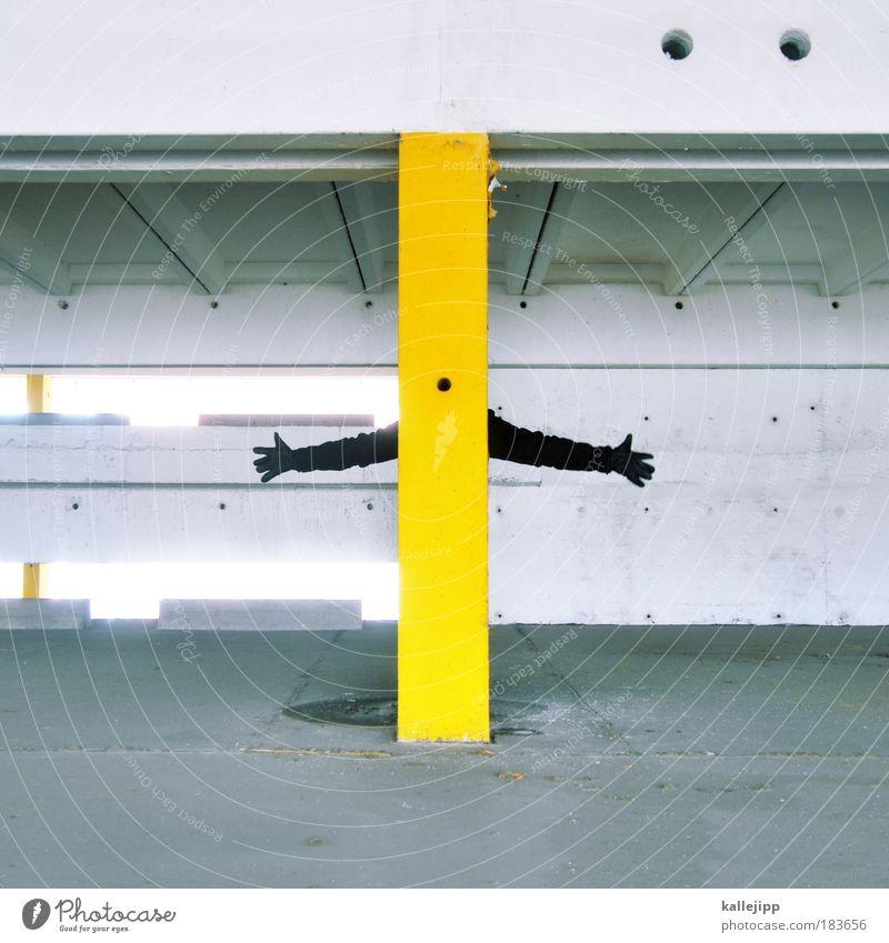 links rechts Mensch Hand schwarz gelb Stein planen Arme Straßenverkehr Beton Finger Zukunft Reflexion & Spiegelung Ziel Richtung Kontrast Verkehrswege