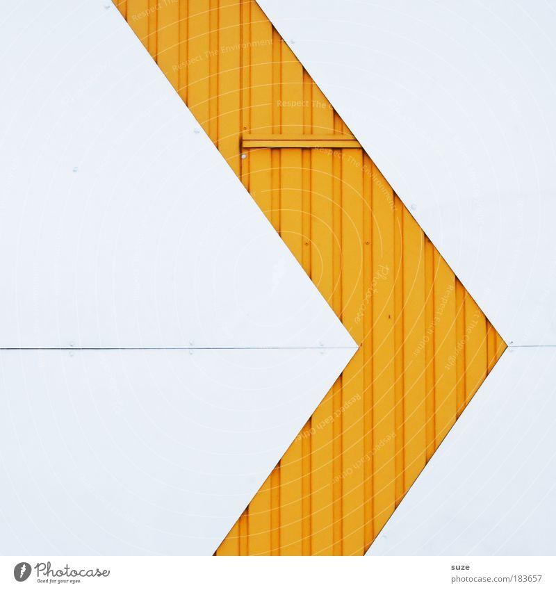 Siehe hier Stil Design Kunst Architektur Mauer Wand Fassade Linie Pfeil eckig einfach modern verrückt Spitze gelb weiß Grafik u. Illustration Metall Wellblech