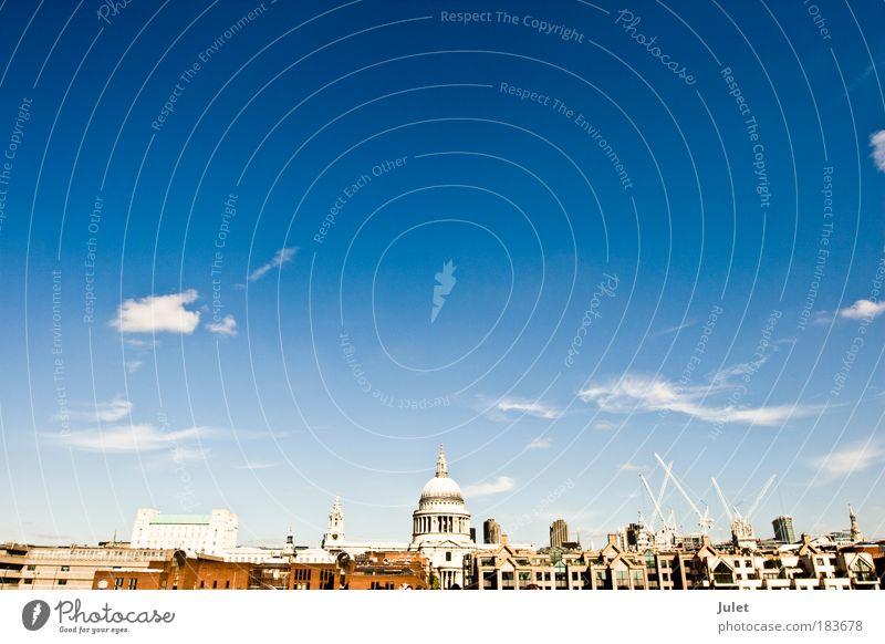 London von der Millenium bridge alt blau Ferien & Urlaub & Reisen Haus gelb Gebäude Architektur Europa Design Stadt Ausflug Kirche Tourismus England