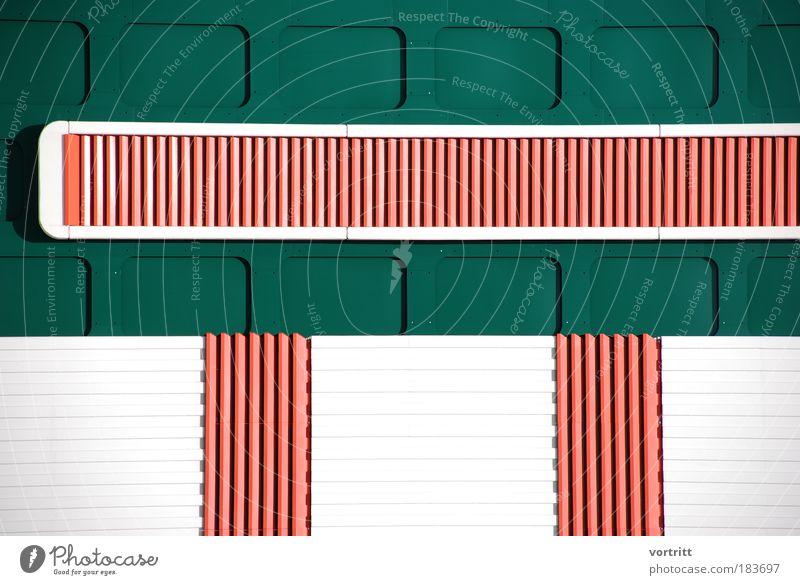 Zentrale weiß grün rot Gebäude Metall Architektur Fassade Industrie Zukunft Technik & Technologie Fabrik Bauwerk Industrieanlage Produktion Fortschritt