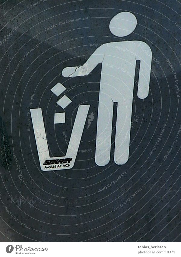 tonne Mensch Ernährung Schilder & Markierungen Müll Fass
