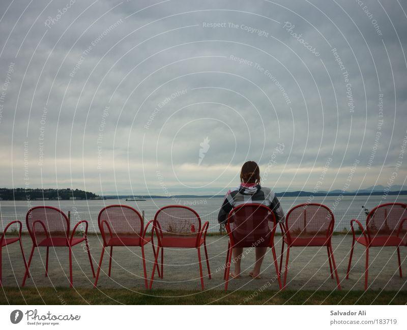 Seatless in Seattle rot Meer ruhig Erholung grau Park Zufriedenheit sitzen USA Seeufer Gelassenheit genießen Amerika Wohlgefühl Sommerurlaub Dämmerung