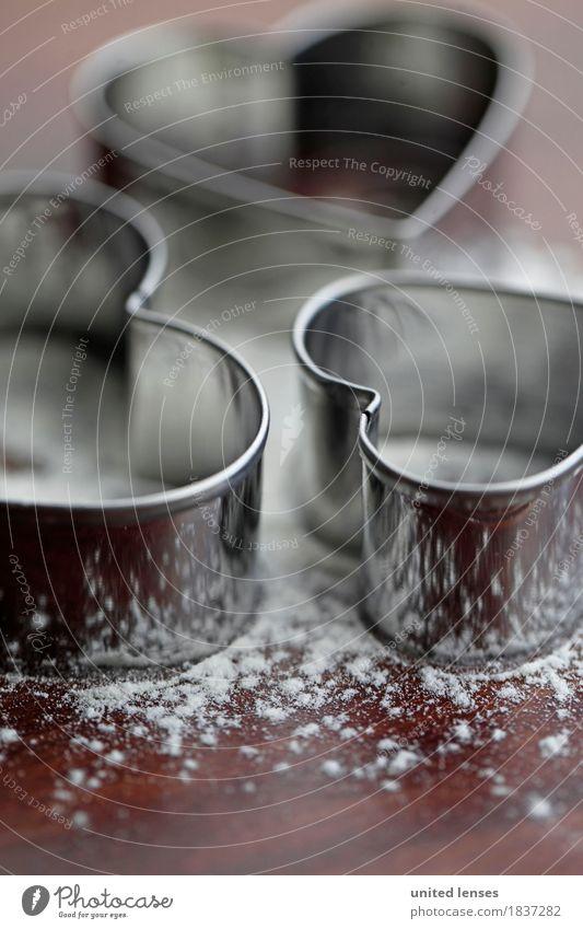 AKCGDR# Herzilein I Kunst Kunstwerk ästhetisch Weihnachten & Advent herzförmig Backform backen Ausstechform Mehl Weihnachtsgebäck Aluminium 3 Postkarte Farbfoto