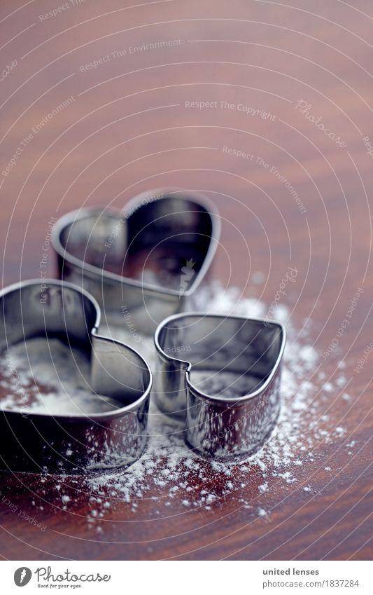 AKCGDR# Herzilein II Kunst Kunstwerk ästhetisch herzförmig 3 Aluminium Ausstechform Holztisch Weihnachten & Advent Postkarte backen Farbfoto mehrfarbig