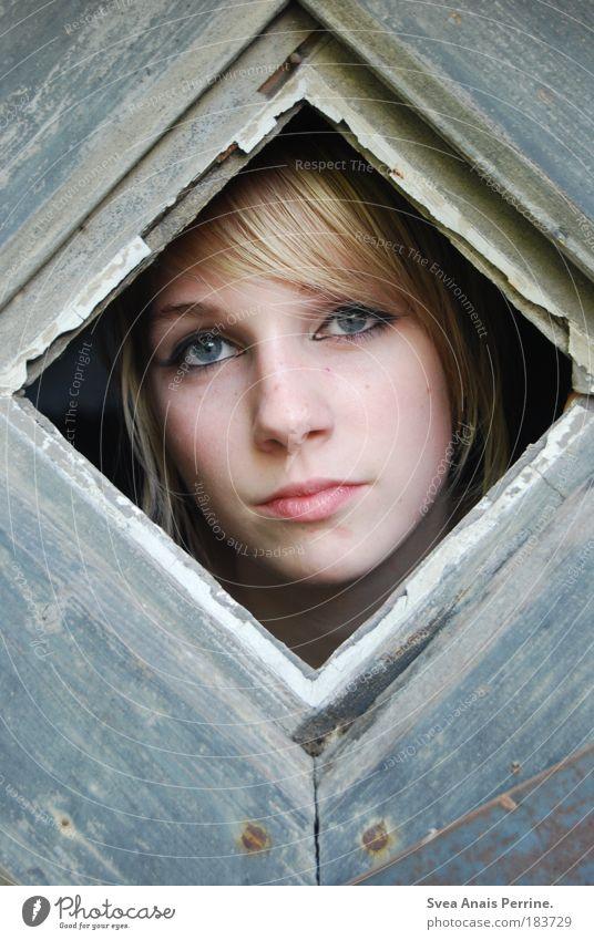 neugier. Mensch Jugendliche schön Gesicht Erwachsene Fenster feminin Gefühle Holz grau Haare & Frisuren hell Stimmung blond authentisch trist
