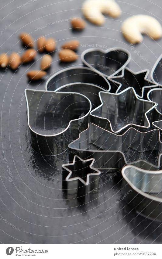 AKCGDR# Förmchen VII Kunst Kunstwerk ästhetisch Weihnachten & Advent Postkarte Weihnachtsgebäck Nuss Krapfen Backwaren Strukturen & Formen Ausstechform