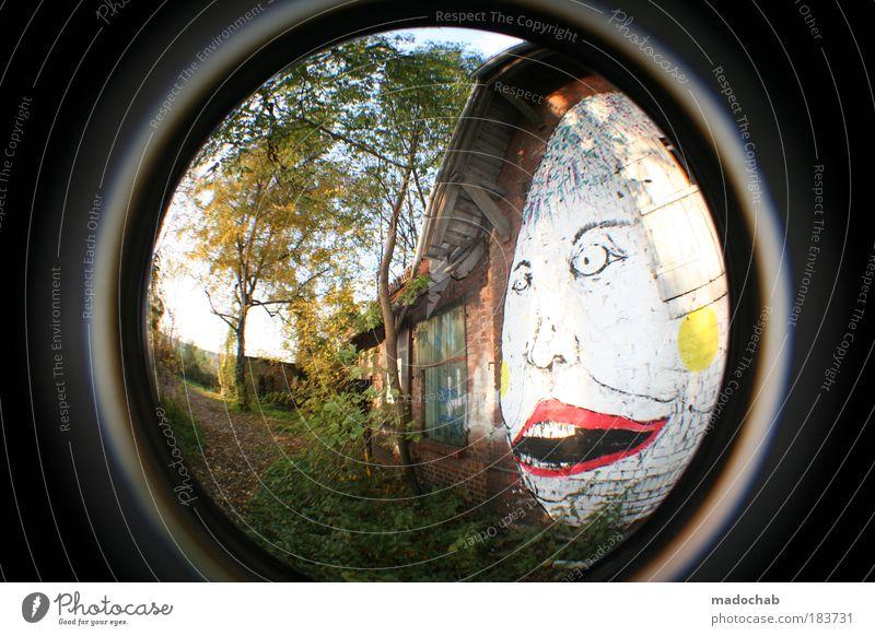 I FEEL BLU Farbfoto mehrfarbig Außenaufnahme Menschenleer Tag Blitzlichtaufnahme Licht Sonnenlicht Weitwinkel Fischauge Porträt Blick nach vorn Kunst Maler
