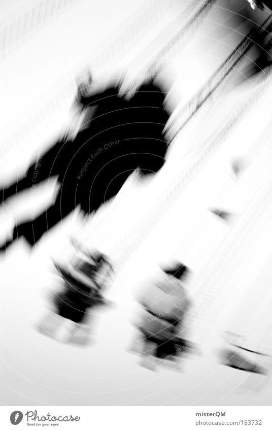 Flying Away. Mensch Freude dunkel Bewegung träumen Stimmung Zeit Geschwindigkeit Schwarzweißfoto ästhetisch Zukunft Kreis retro Kraft Kitsch Jahrmarkt
