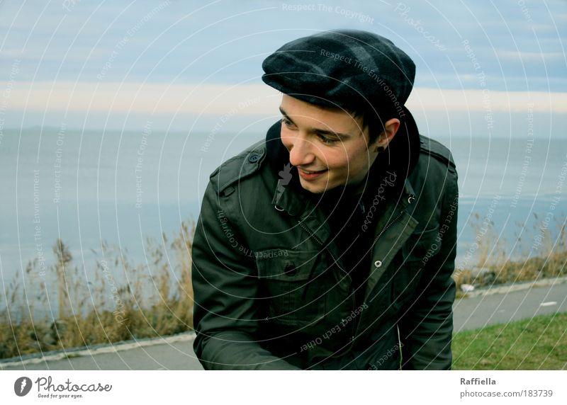 bester Mensch Natur Jugendliche Wasser grün blau schön Ferien & Urlaub & Reisen Meer Gesicht Ferne Mann Straße Wiese Gras Bewegung