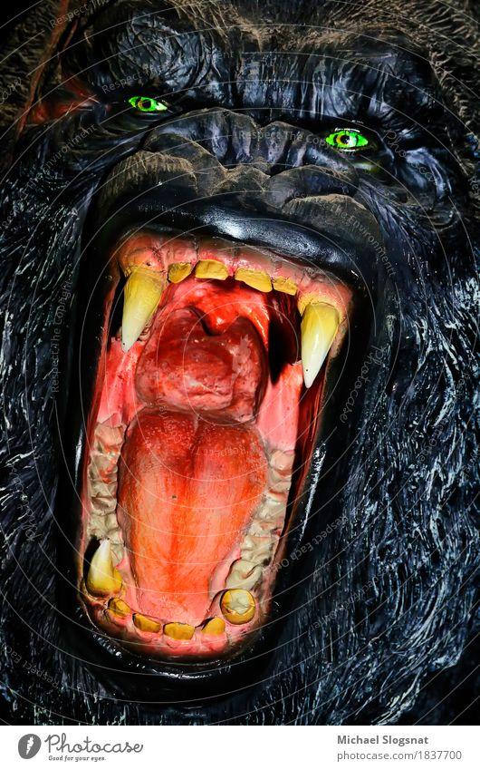 Gorillamodell Wildtier Tiergesicht 1 Puppe Kunststoff Aggression außergewöhnlich bedrohlich dunkel gruselig wild Wut schwarz Gefühle Tapferkeit selbstbewußt