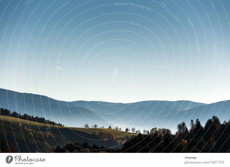 Dunst Ausflug Natur Landschaft Wolkenloser Himmel Sommer Herbst Schönes Wetter Baum Wald Hügel Berge u. Gebirge Erholung schön Stimmung Tal Farbfoto