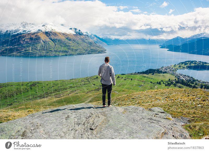 Erkunde Neuseeland Lifestyle Freude Ferien & Urlaub & Reisen Abenteuer Freiheit Sommer Sommerurlaub Insel wandern Klettern Bergsteigen Junger Mann Jugendliche