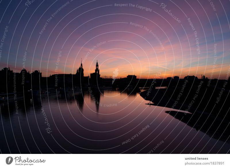 DR# Augenschmaus Kunst Gemälde ästhetisch Canaletto-Blick Dresden Sachsen Elbe Reflexion & Spiegelung Hofkirche Hofkirche Dresden Semperoper Skyline Himmel