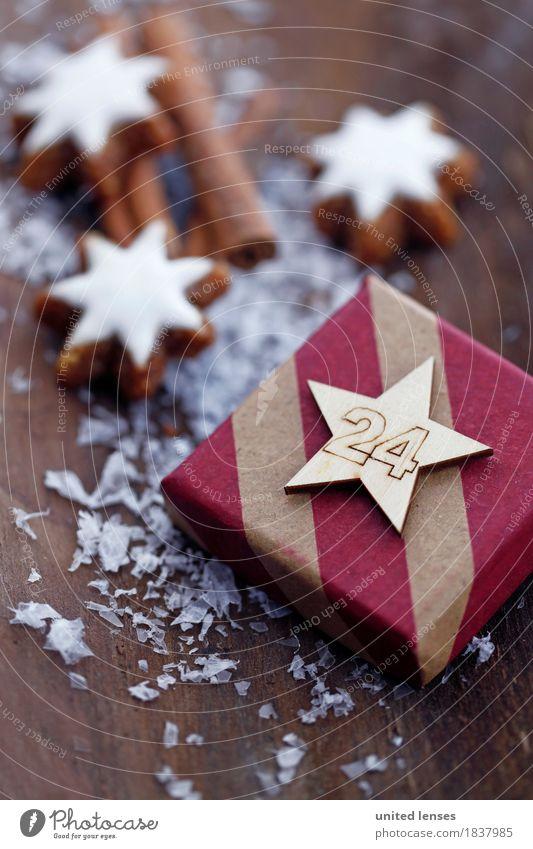 AKCGDR# Geschenke I Kunst Kunstwerk ästhetisch 24 Weihnachten & Advent Postkarte Zimtstern Schnee Holzuntergrund Vorfreude Bescherung Farbfoto mehrfarbig