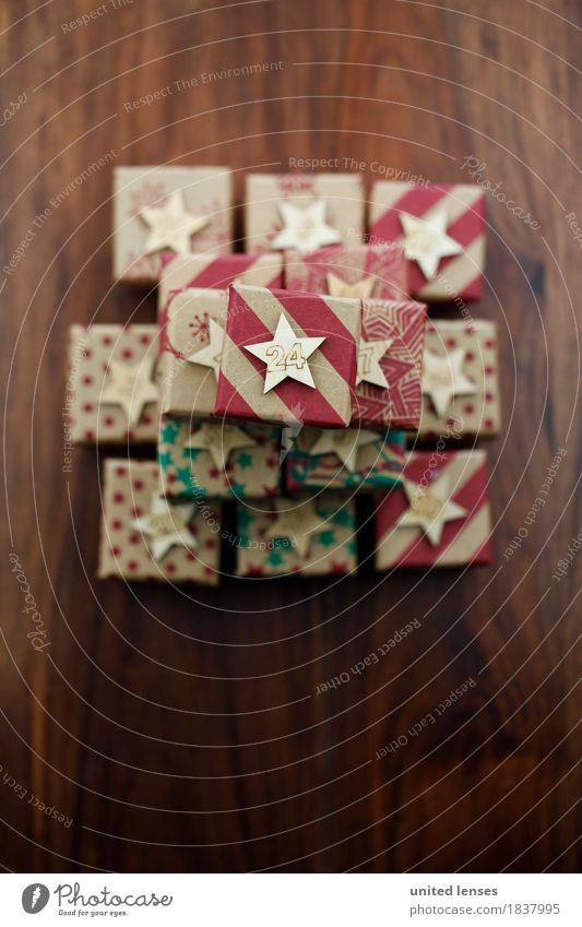 AKCGDR# Bescherung VIII Kunst Kunstwerk ästhetisch Geschenk Paket Weihnachten & Advent viele Postkarte 24 Vorfreude Dezember Kalender Adventskalender Farbfoto