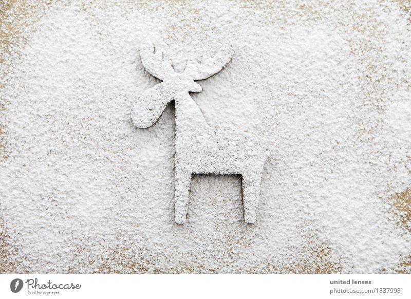 AKCGDR# Schneespur I Kunst Kunstwerk ästhetisch Puderzucker Hirsche Rentier Mehl Tier Fährte Weihnachten & Advent Dezember Farbfoto Gedeckte Farben