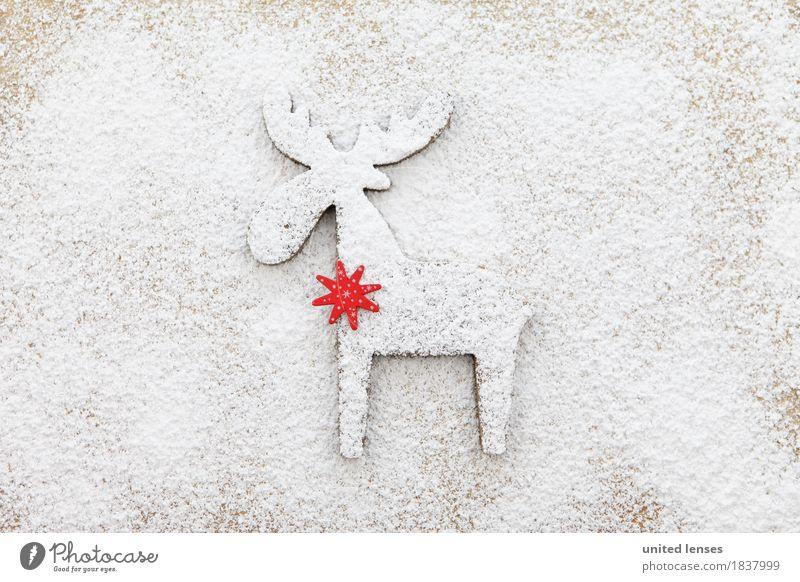 AKCGDR# Schneespur II Kunst Kunstwerk ästhetisch Rentier rot Stern (Symbol) Hirsche Weihnachten & Advent weiß Mehl Puderzucker Strukturen & Formen Farbfoto
