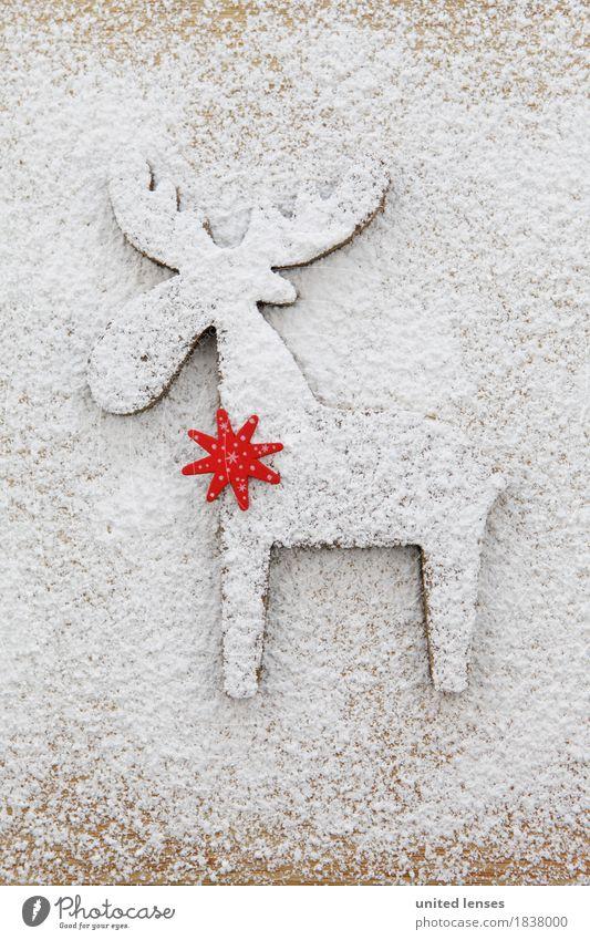 AKCGDR# Schneespur III Kunst Kunstwerk ästhetisch Postkarte Weihnachten & Advent weiß Rentier Strukturen & Formen Mehl Puderzucker hell Farbfoto Gedeckte Farben