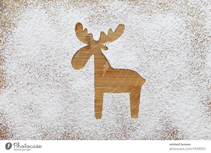 AKCGDR# Schneespur IV Kunst Kunstwerk ästhetisch Mehl Puderzucker Rentier Holzbrett weiß Weihnachten & Advent Postkarte Silhouette Farbfoto Gedeckte Farben