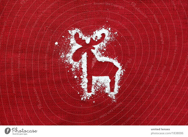 AKCGDR# Schneespur VII Kunst Kunstwerk ästhetisch Rentier Weihnachten & Advent Postkarte Strukturen & Formen rot Dezember Kreativität Silhouette Umrisslinie