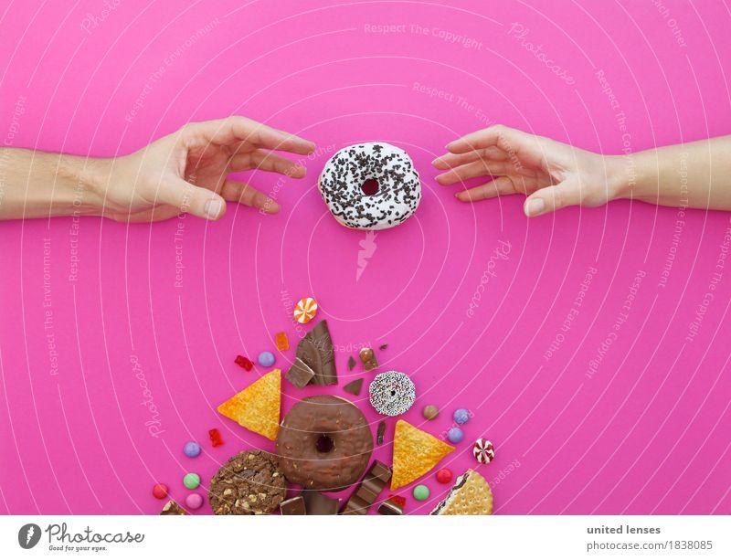 AKCGDR# Meine? Meine? Kunst Kunstwerk Gemälde ästhetisch Hand greifen Erreichen streben Krapfen Belohnung Süßwaren Kaffeepause Zucker lecker Appetit & Hunger