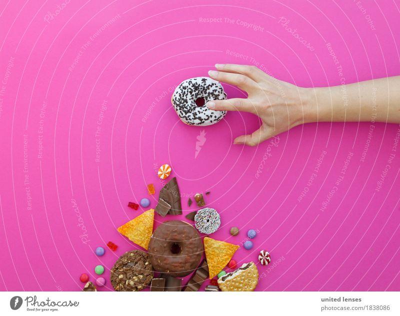 AKCGDR# Meine Kunst Kunstwerk ästhetisch Kitsch Krapfen Süßwaren lecker ungesund Hand greifen rosa Schokolade Keks Fladenbrot Bonbon Schokolinsen Gummibärchen