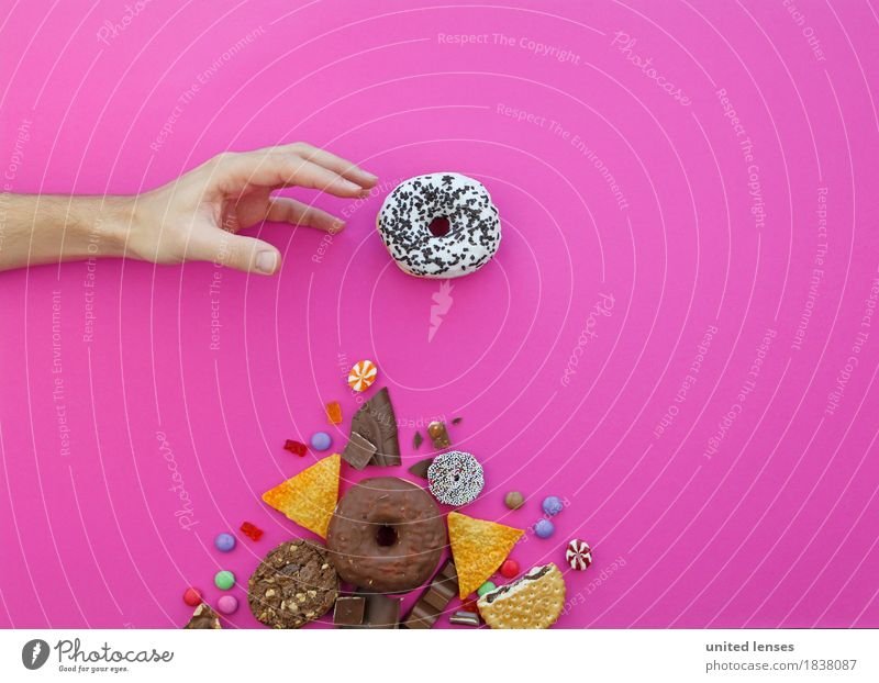 AKCG# Meiner Kunst Kunstwerk ästhetisch Gier greifen Krapfen Hand Süßwaren Schokolade Fladenbrot Kartoffelchips Bonbon Schokolinsen Gummibärchen rosa Finger