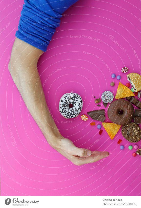 AKCG# Süßigkeiten-Amerika I Kunst Kunstwerk ästhetisch Arme Mann Gier Süßwaren Krapfen Kartoffelchips Schokolinsen Bonbon Gummibärchen rosa blau Pullover