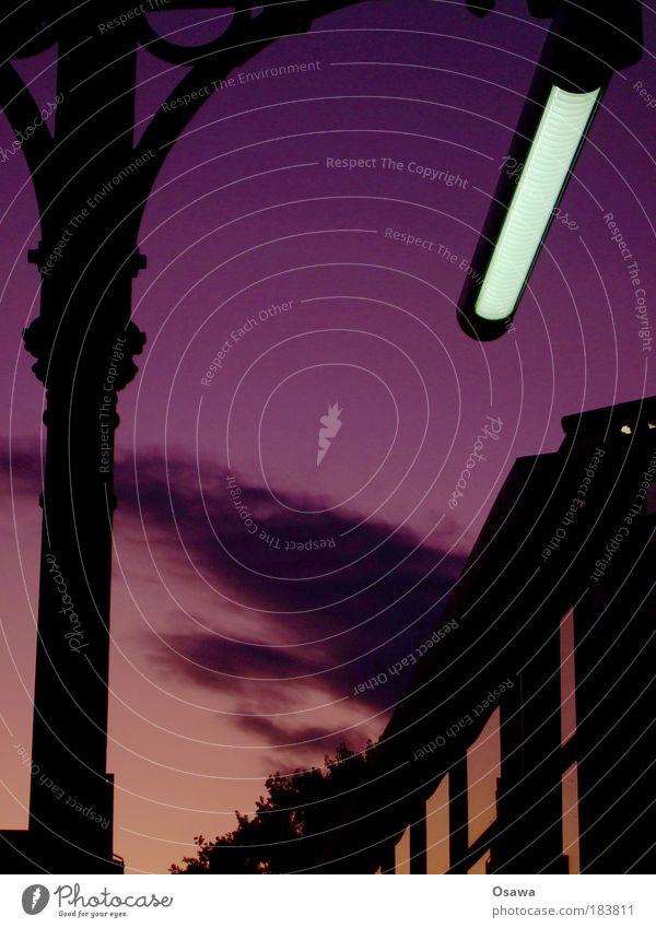 Savigny Bahnhof S-Bahnhof Savignyplatz Strebe Säule Gußeisen Lampe Neonlicht Leuchtstoffröhre Himmel violett rosa rot Silhouette schwarz Wolken Hochformat